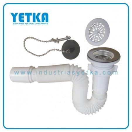 Sifón flexible para fregadero con desagüe