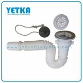 Sifón flexible para lavamanos con desagüe